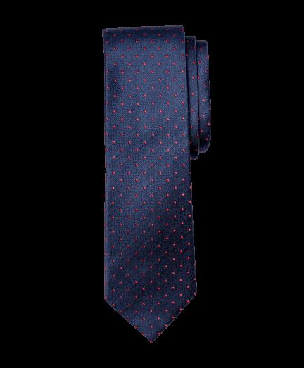 Sötétkék alapon piros pöttyös nyakkendő