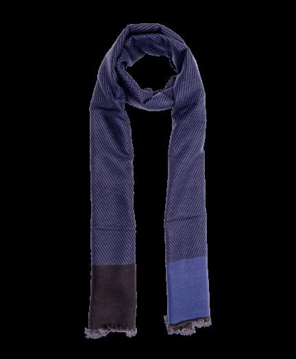 Kék-fekete csíkos selyem sál