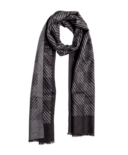 Fekete-szürke mintás selyem sál