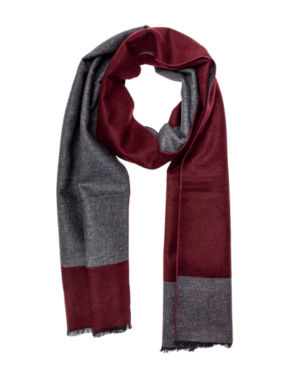 Bordó-szürke színű selyem sál
