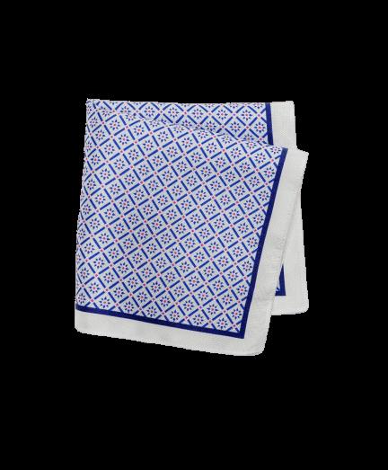 Kék és pink mintás selyem díszzsebkendő