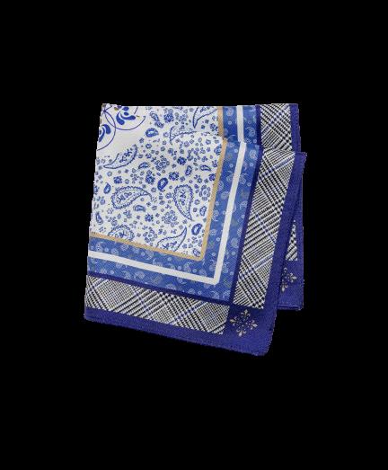 Fehér-kék paisley mintás selyem díszzsebkendő