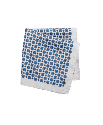 Fehér-kék apró mintás selyem díszzsebkendő