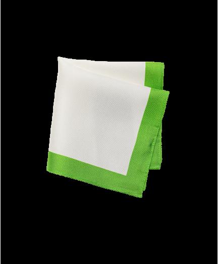 Fehér-zöld színű selyem díszzsebkendő