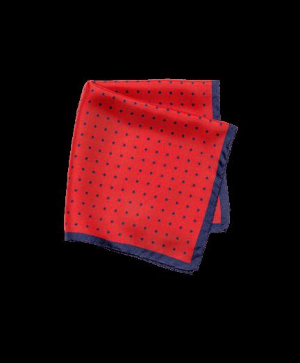 Piros alapon pöttyös selyem díszzsebkendő