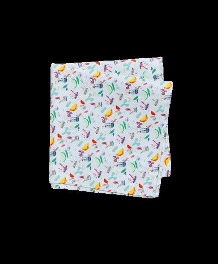 Színes koktél mintás pamut díszzsebkendő
