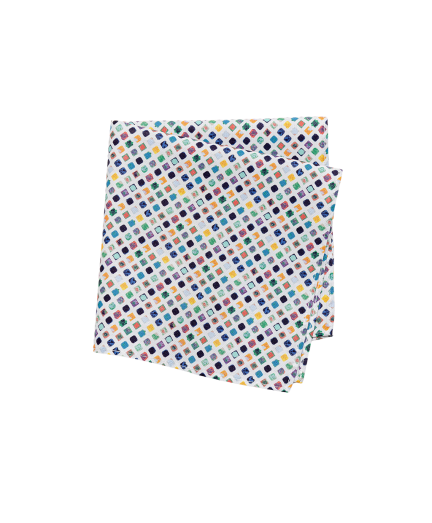 Színes négyzet mintás pamut díszzsebkendő