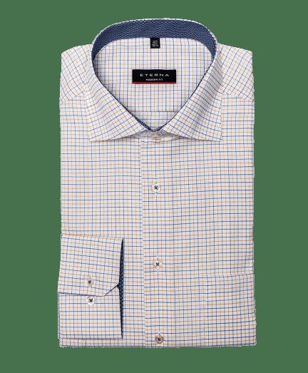 Fehér alapon kék és sárga apró kockás férfi ing