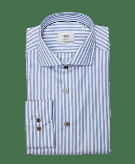 Fehér alapon világoskék csíkos férfi ing