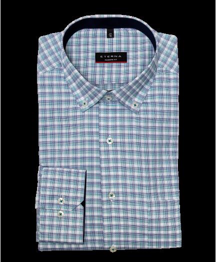 Fehér alapon kék és zöld kockás férfi ing