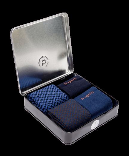 Bugatti 4 db-os zokni csomag fémdobozban